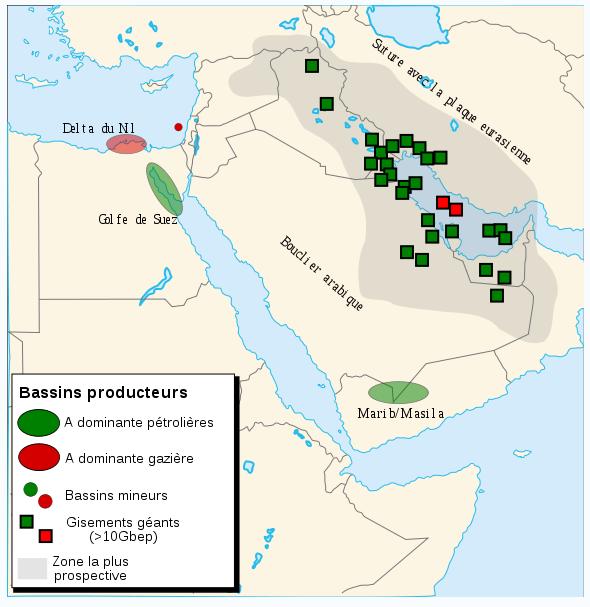 Карта залежей нефти Саудовской